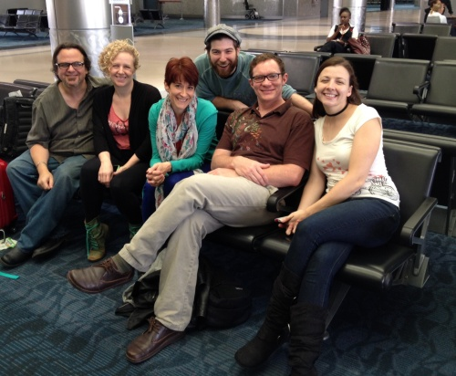 Company members at the airport 2 days ago, on their way to Quebec!